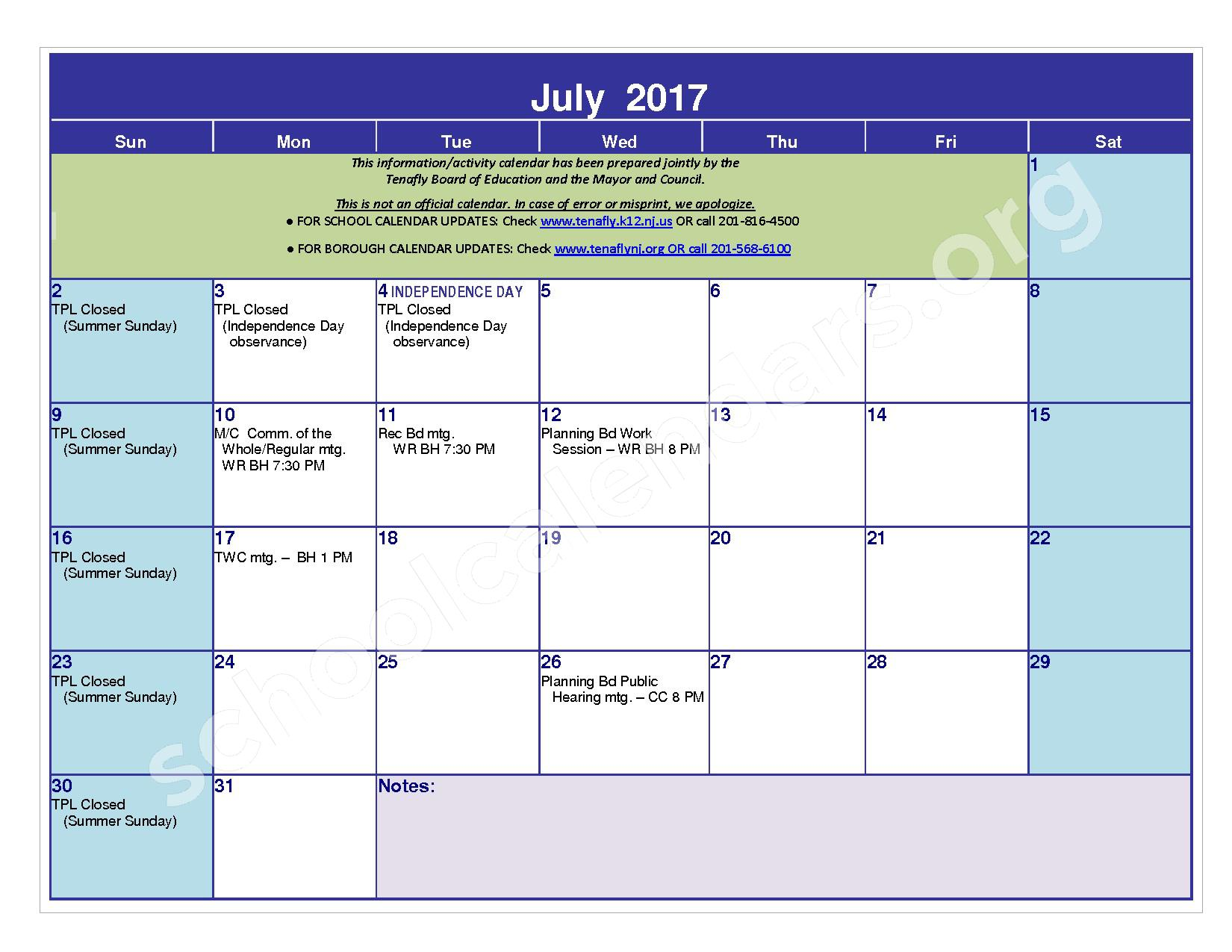2016 - 2017 District Calendar – Tenafly Public Schools – page 23