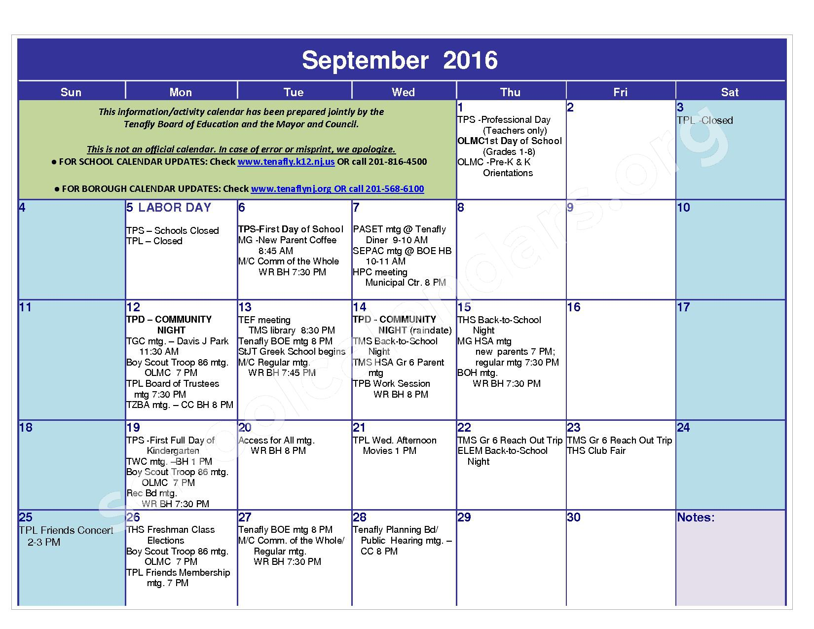 2016 - 2017 District Calendar – Tenafly Public Schools – page 3