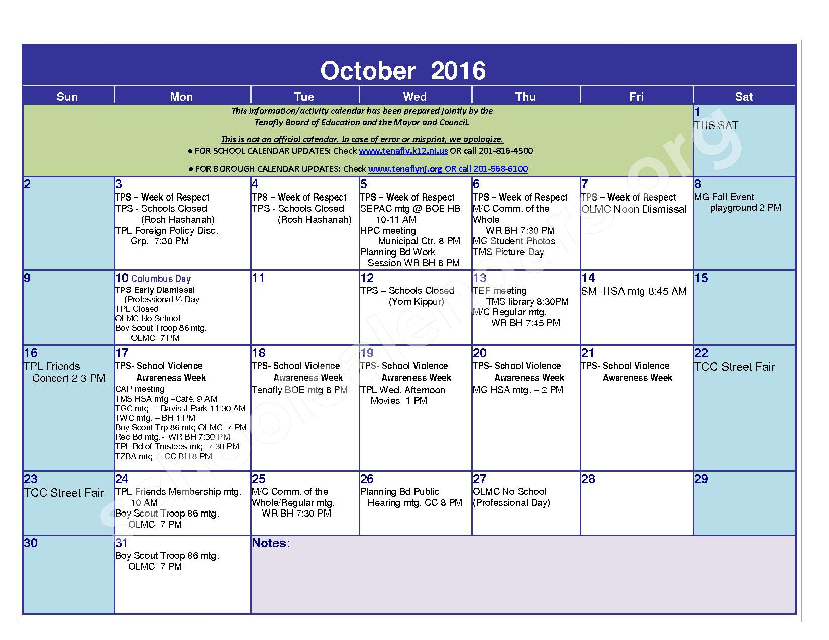 2016 - 2017 District Calendar – Tenafly Public Schools – page 5