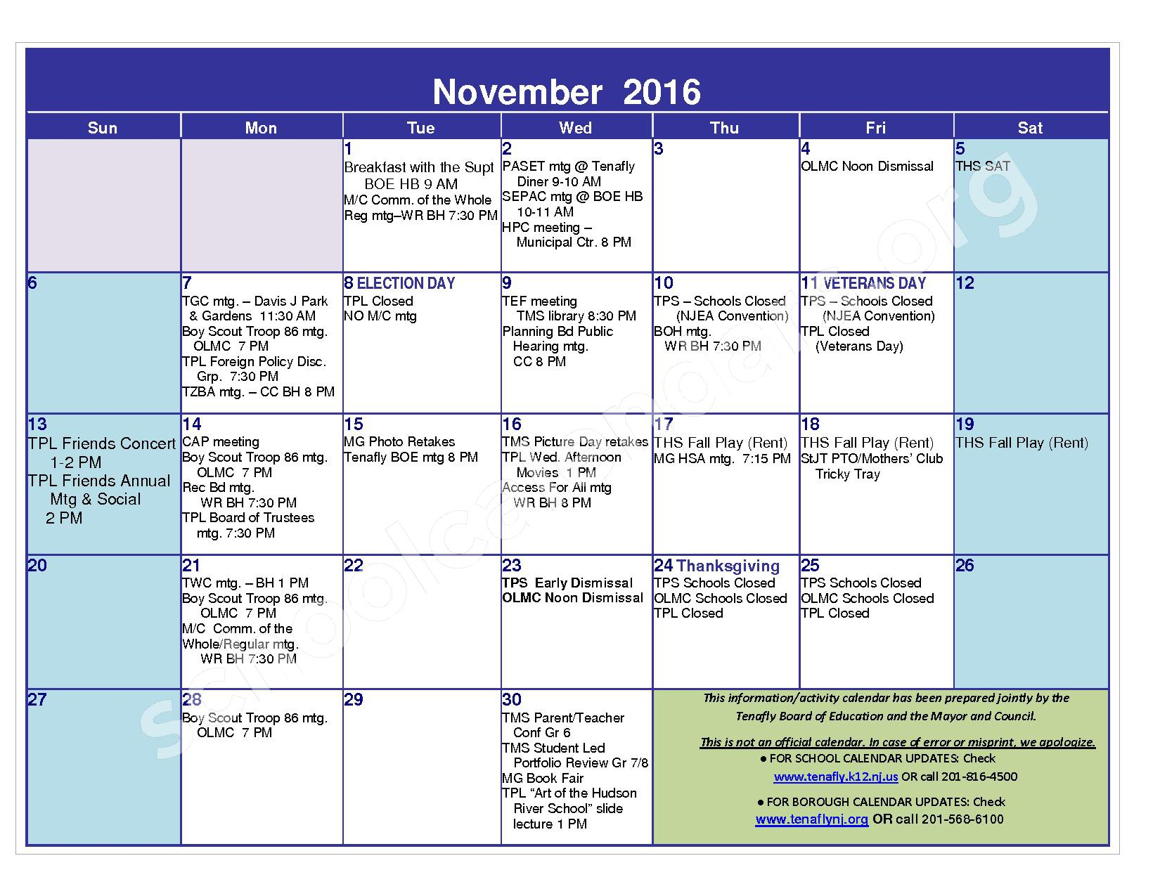 2016 - 2017 District Calendar – Tenafly Public Schools – page 7