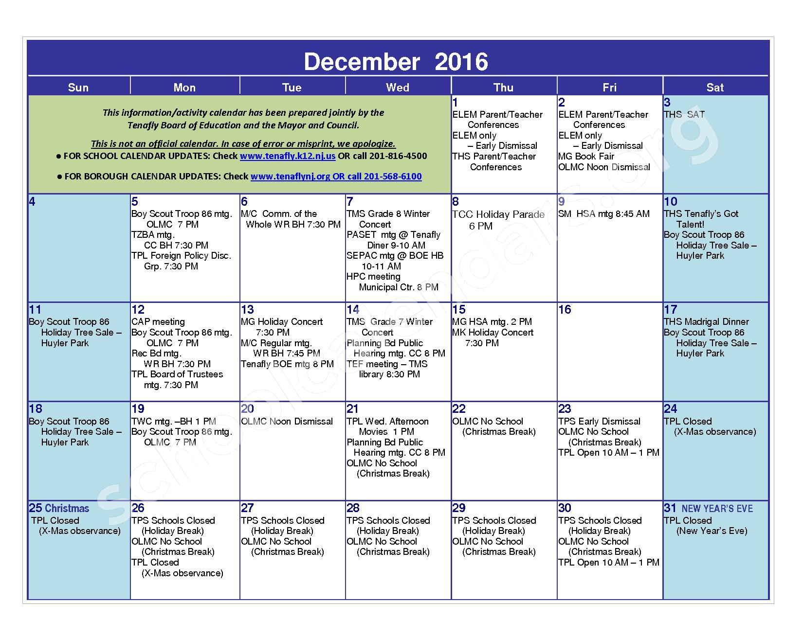 2016 - 2017 District Calendar – Tenafly Public Schools – page 9