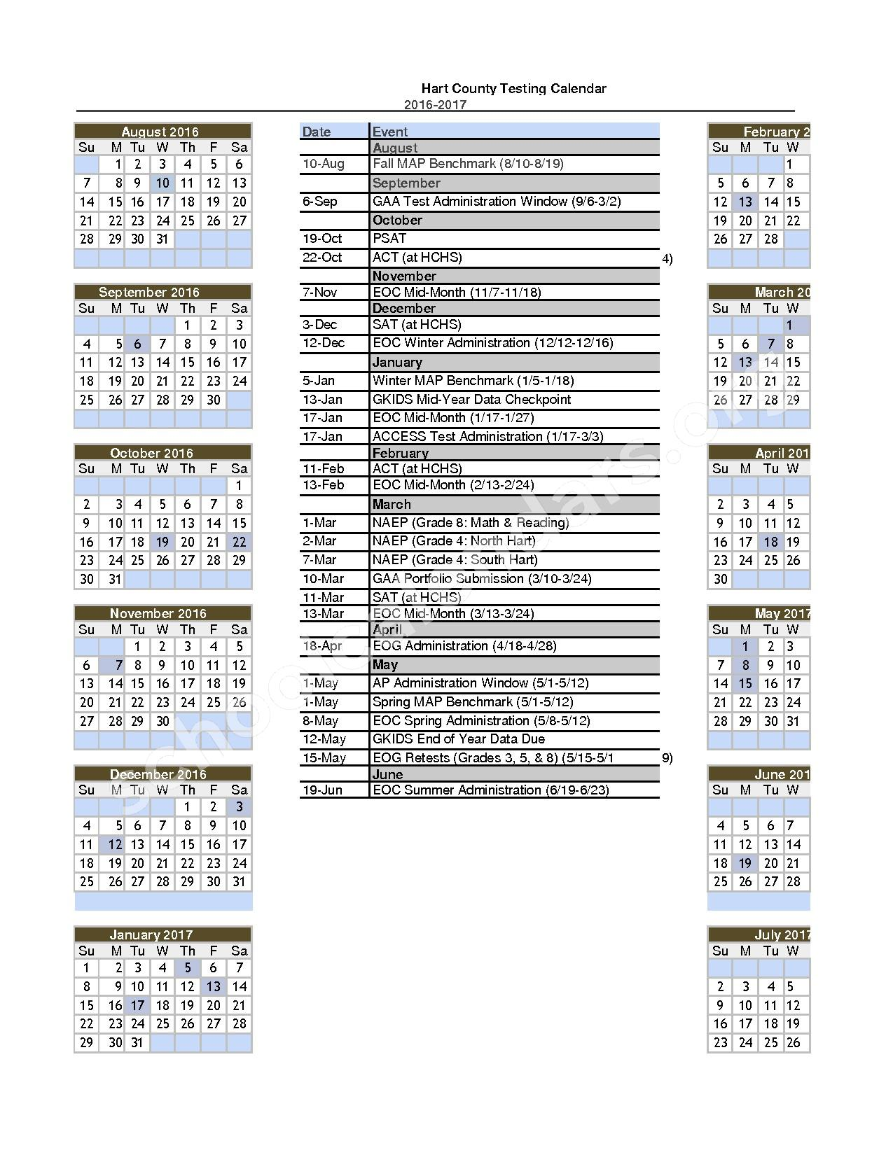 2016 - 2017 District Calendar – Hart County School District – page 1