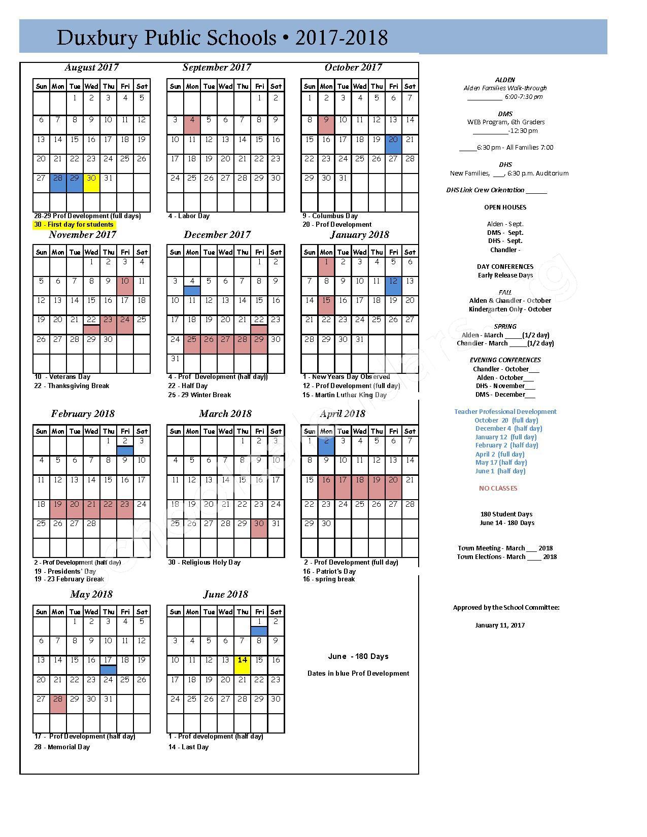 2017 - 2018 School Calendar – Duxbury Public Schools – page 1