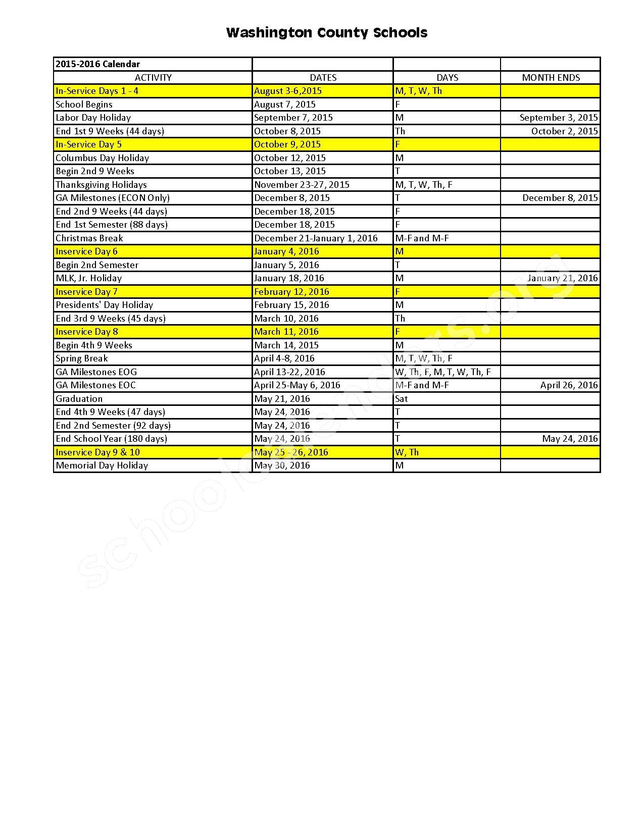 2015 - 2016 School Calendar – Washington County School District – page 1