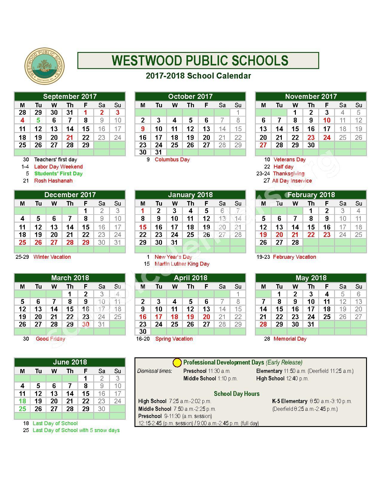 2017 - 2018  District Calendar – Westwood Public Schools – page 1