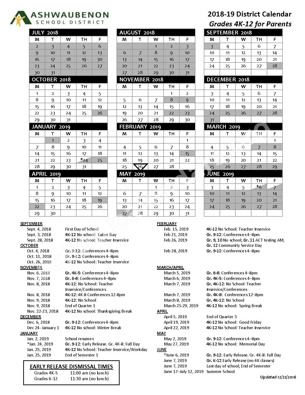 2018 - 2019  District Calendar – Ashwaubenon School District – page 1