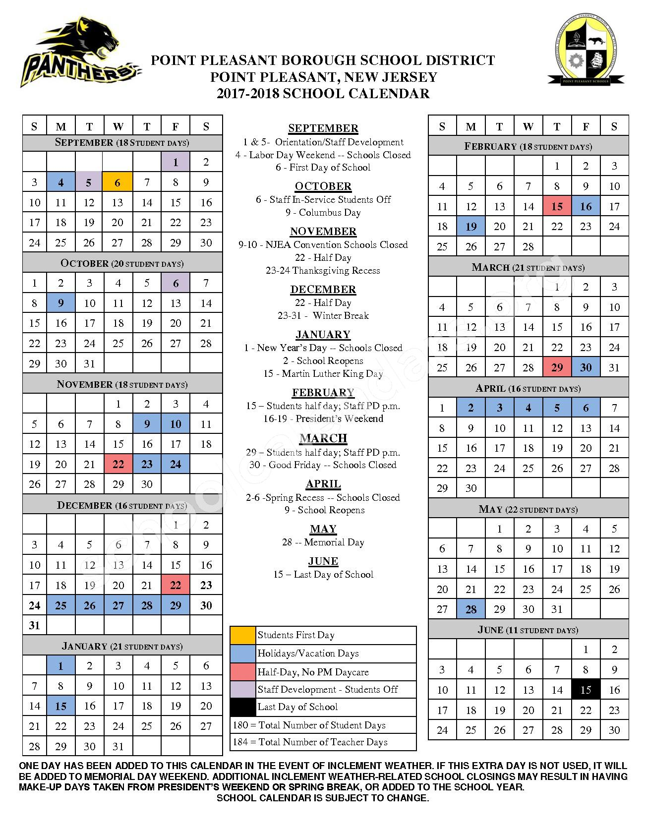2017 - 2018 School Calendar – Point Pleasant Borough Schools – page 1