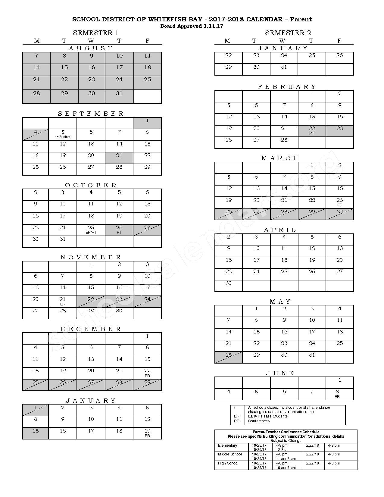 2017 - 2018 School Calendar – Whitefish Bay School District – page 1