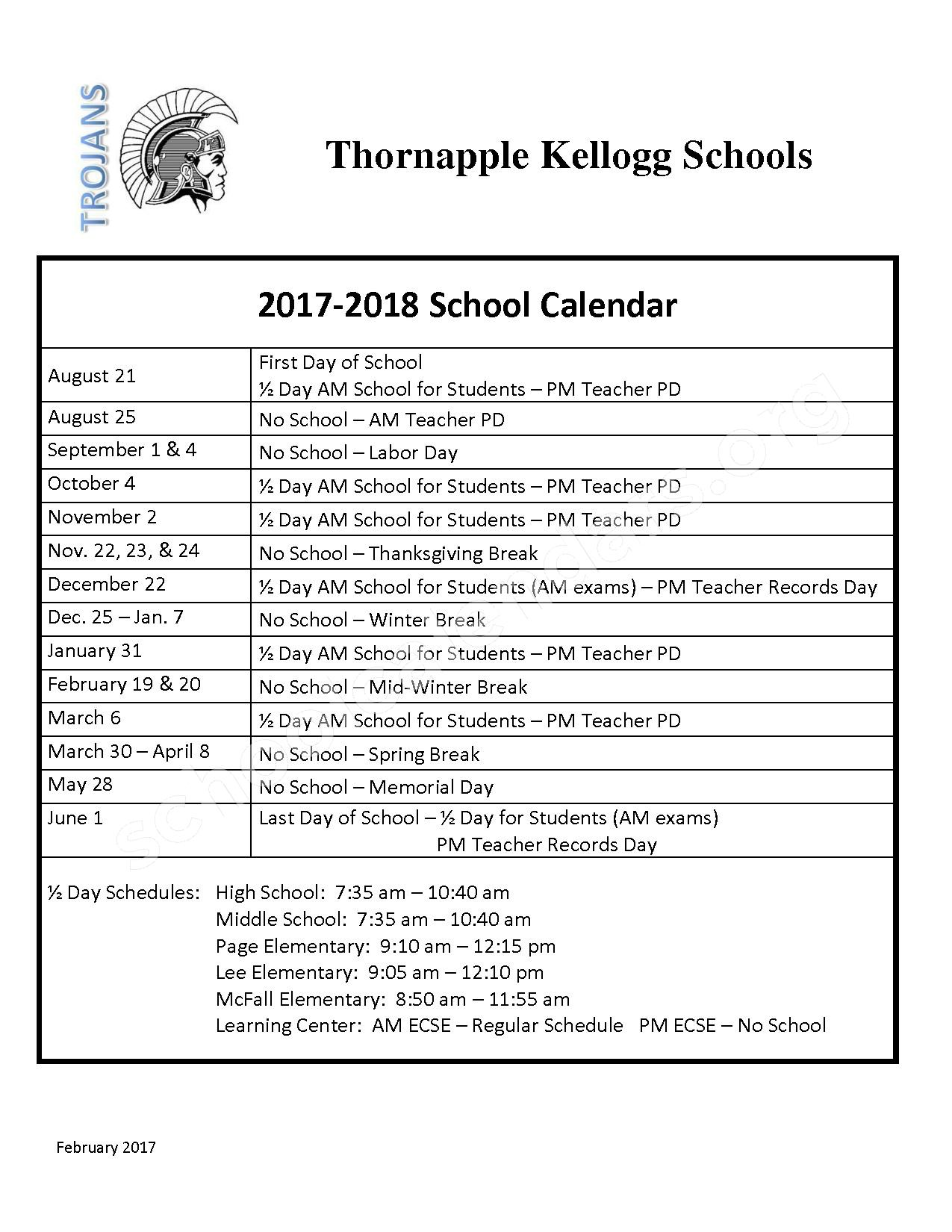 2017 - 2018 School Calendar – Thornapple Kellogg School District – page 1