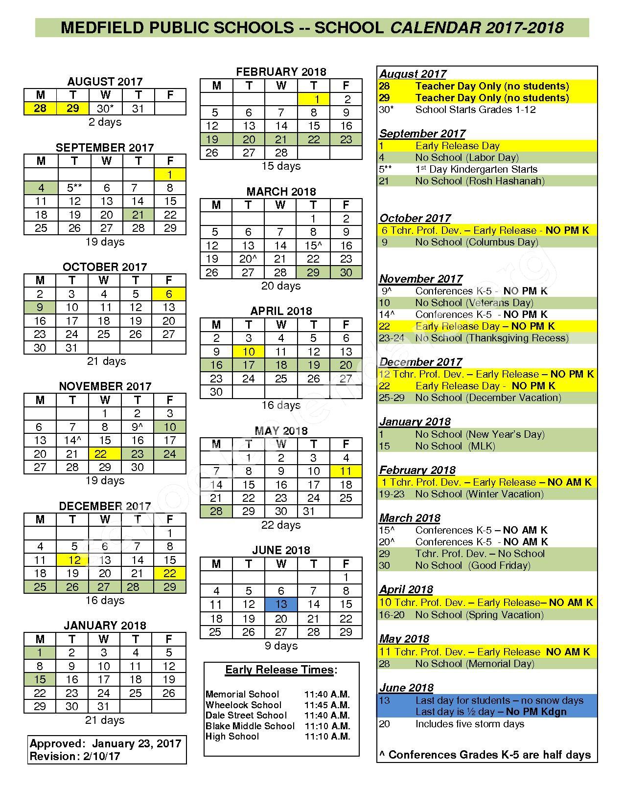 2017 - 2018 District Calendar – Medfield Public Schools – page 1