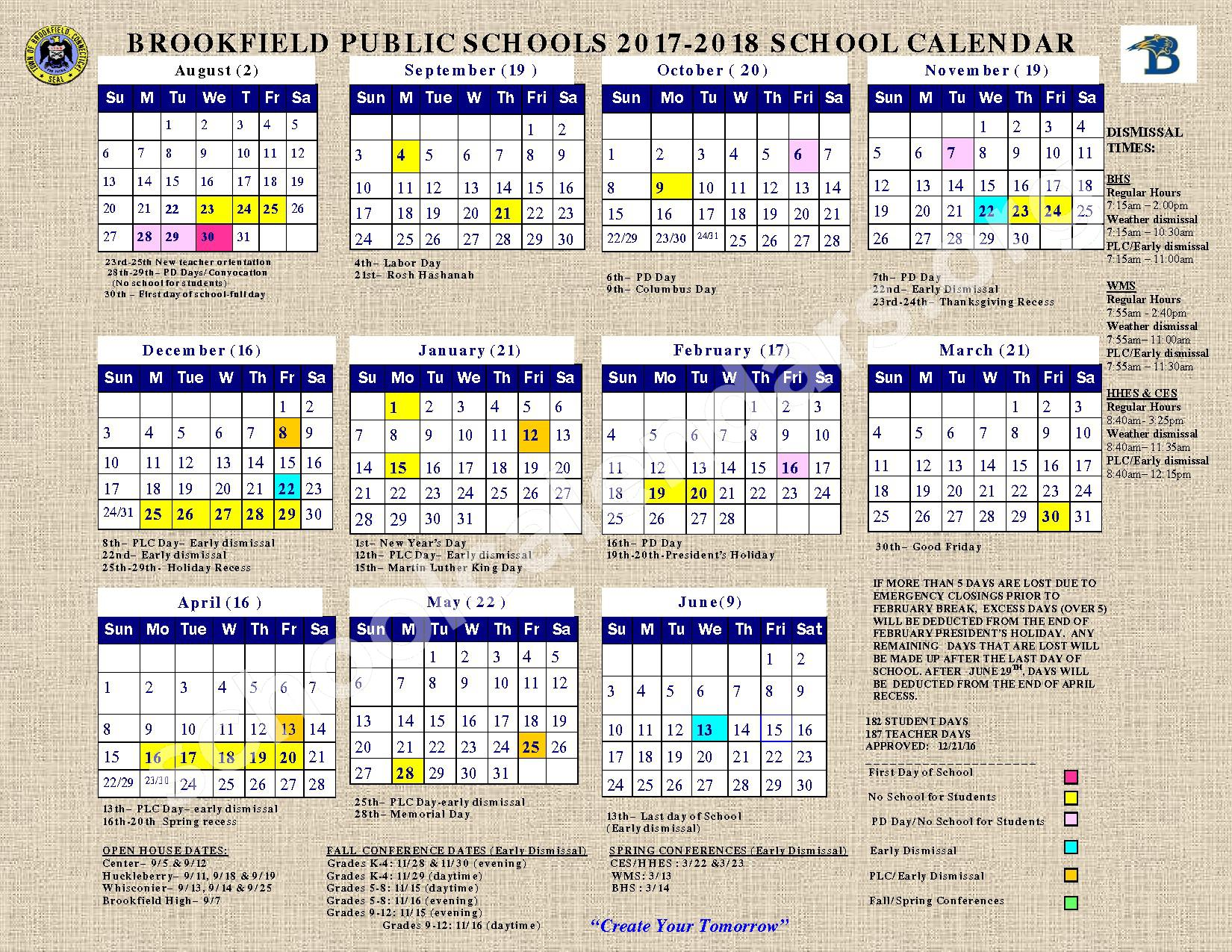 2017 - 2018 District Calendar – Brookfield Public Schools – page 1