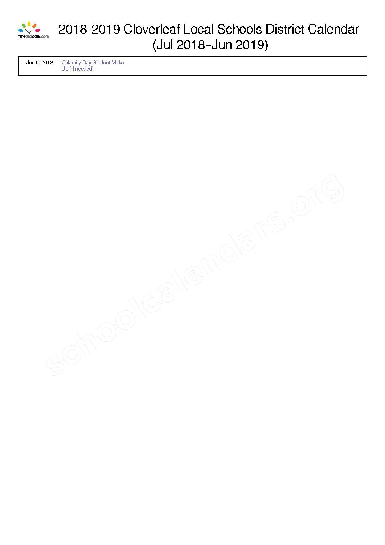 2018 - 2019 District Calendar – Cloverleaf Local Schools – page 2
