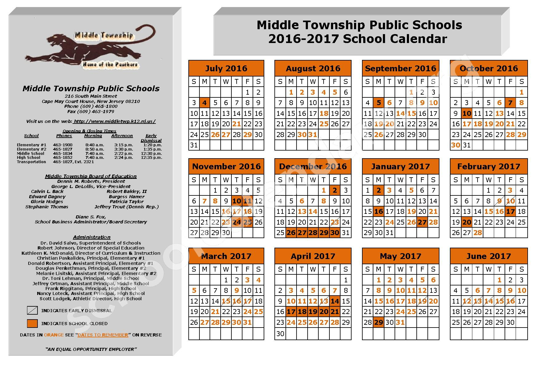 2016 - 2017 School Calendar – Middle Township Public Schools – page 1