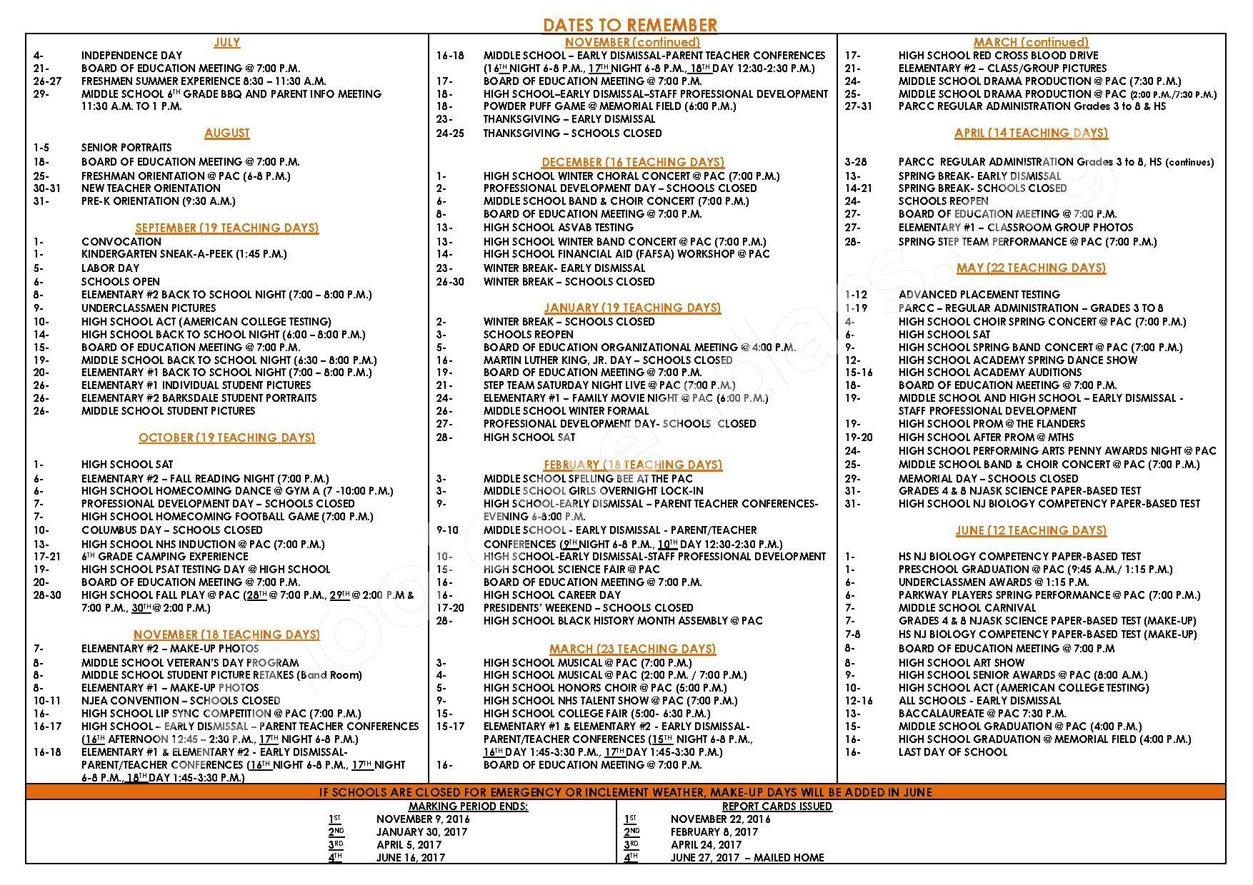 2016 - 2017 School Calendar – Middle Township Public Schools – page 2