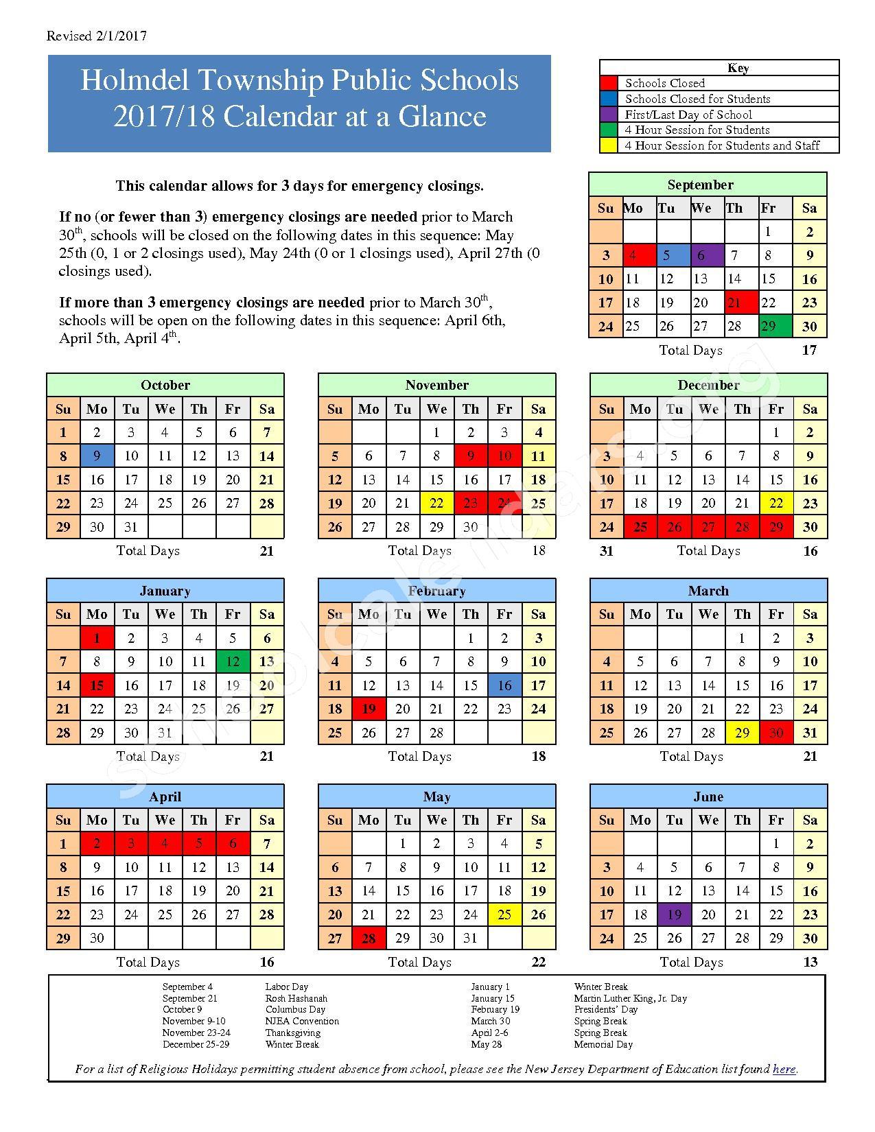 2017 - 2018 District Calendar – Holmdel Township Public Schools – page 1