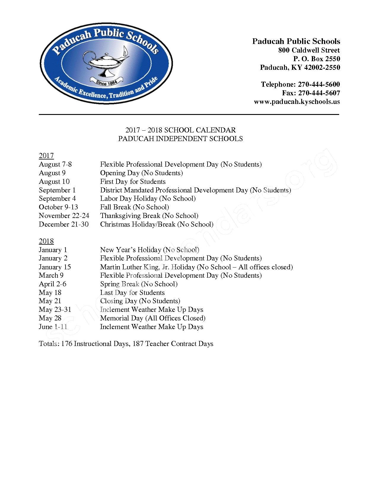 2017 - 2018 School Calendar – Paducah Independent School District – page 1