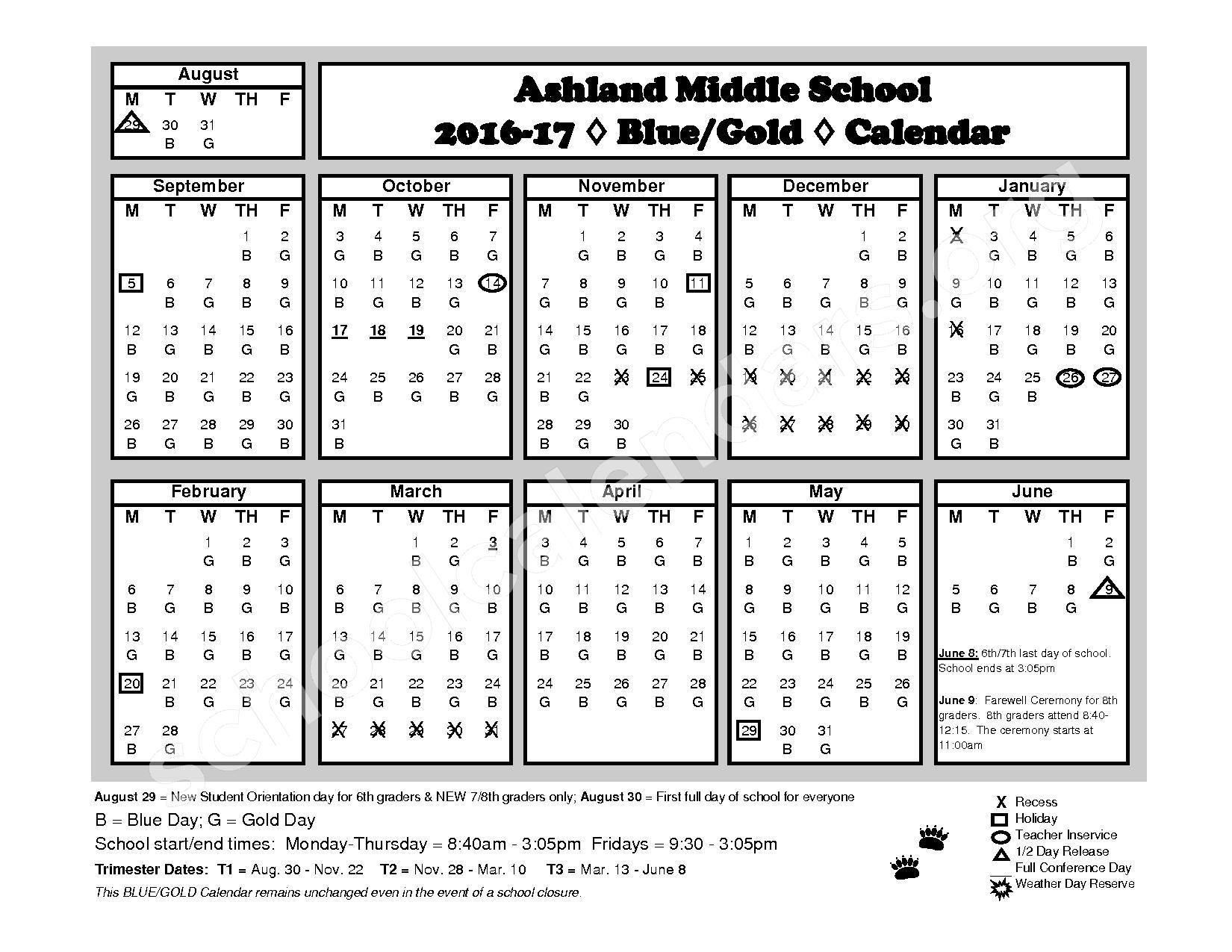 2016 - 2017  District Calendar – Ashland School District – page 1