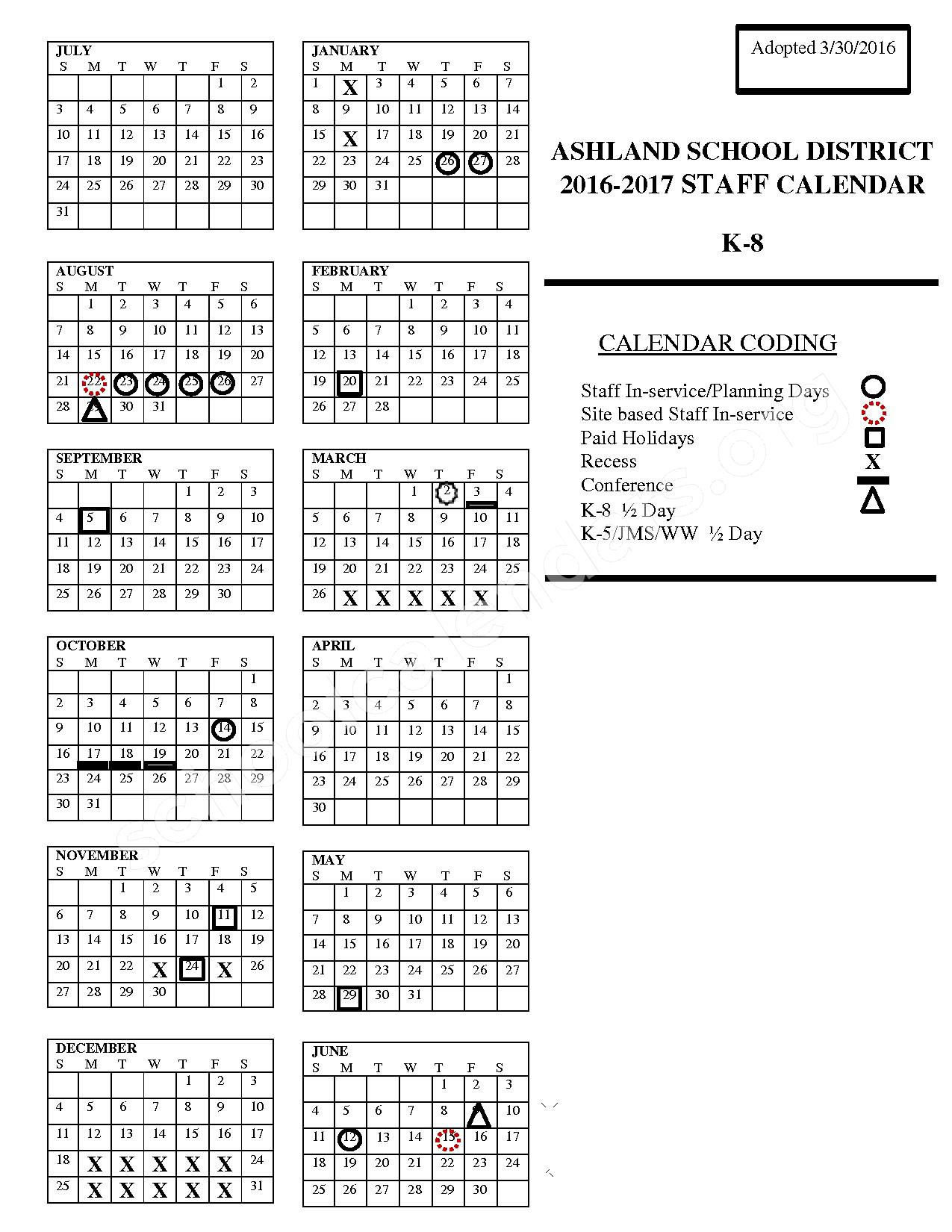 2016 - 2017 District Calendar – Ashland Middle School – page 1