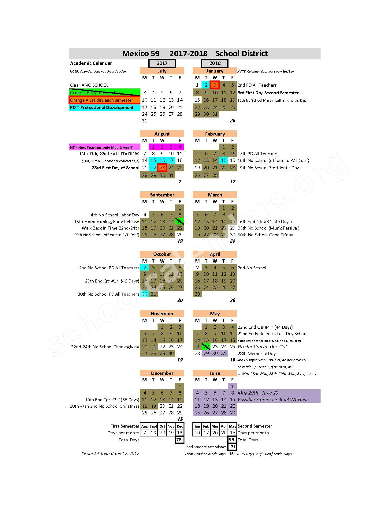 2017 - 2018 School Calendar – Mexico Public Schools – page 1