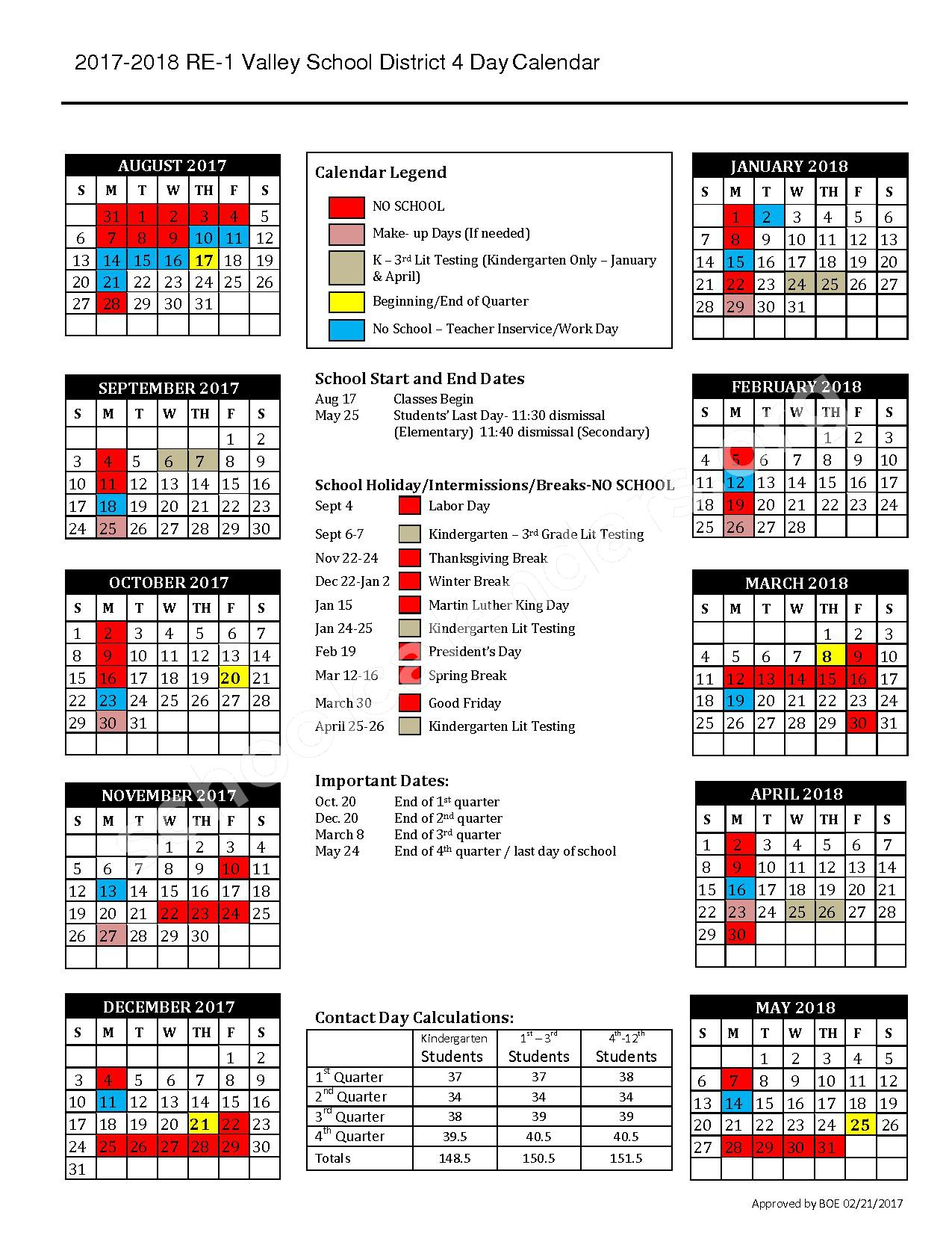 2017 - 2018 District Calendar – Valley School District RE-1 – page 1