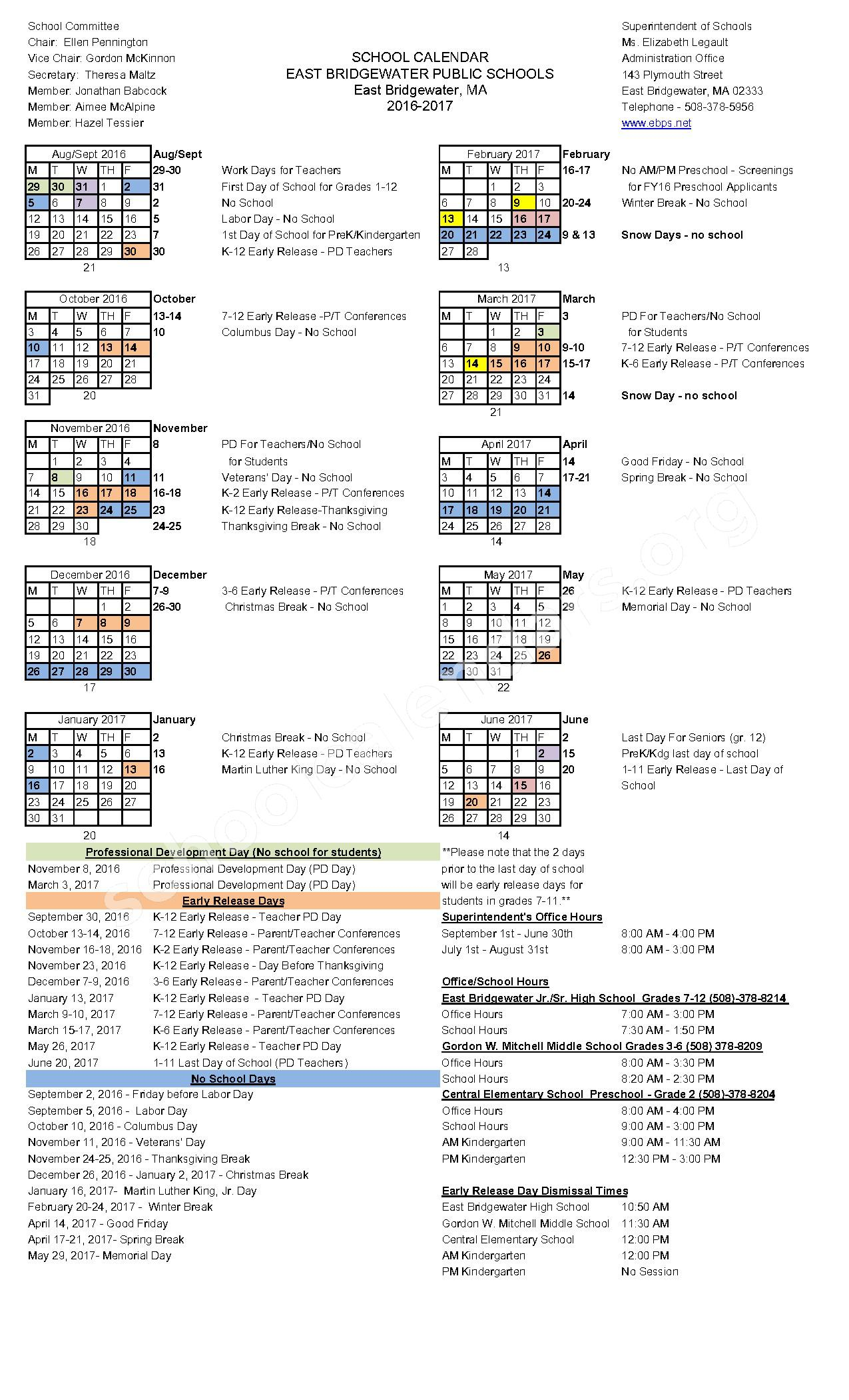 2016 - 2017 District Calendar – East Bridgewater Public Schools – page 1