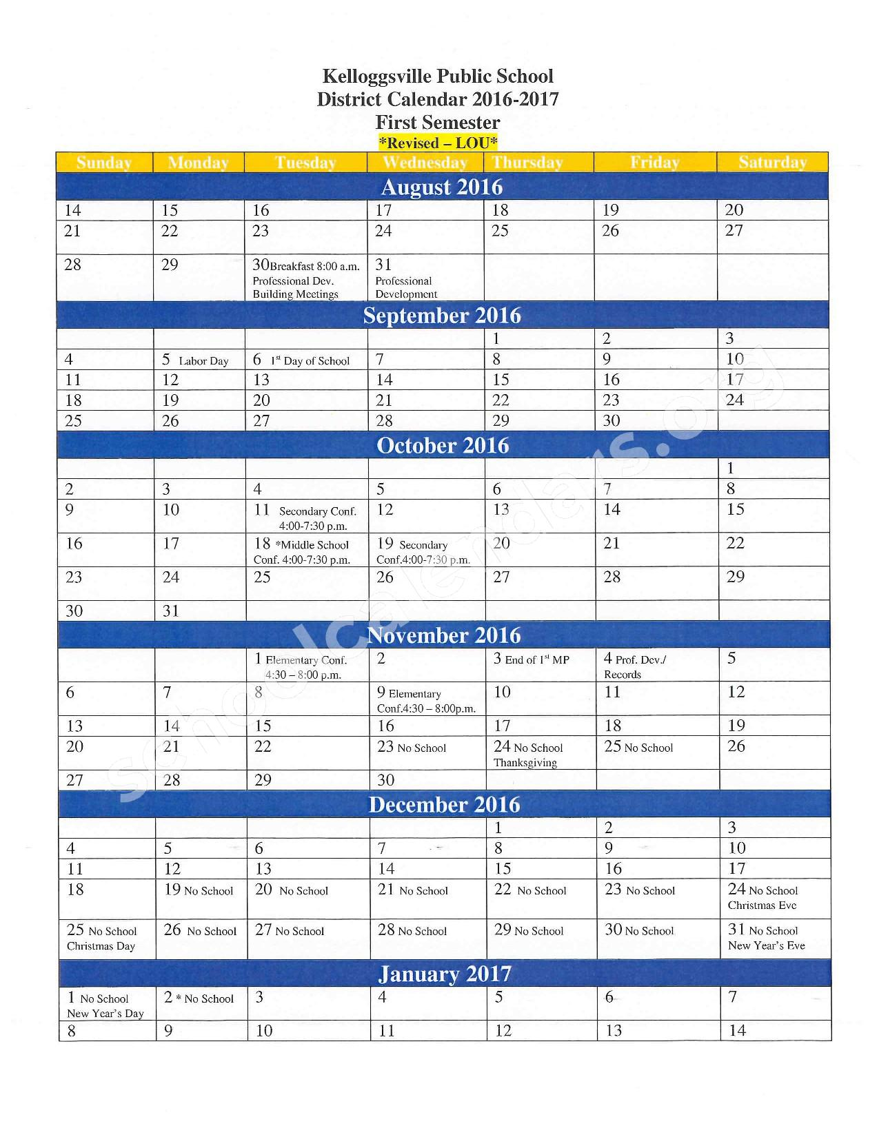 2016 - 2017 School Calendar – Kelloggsville Public Schools – page 1