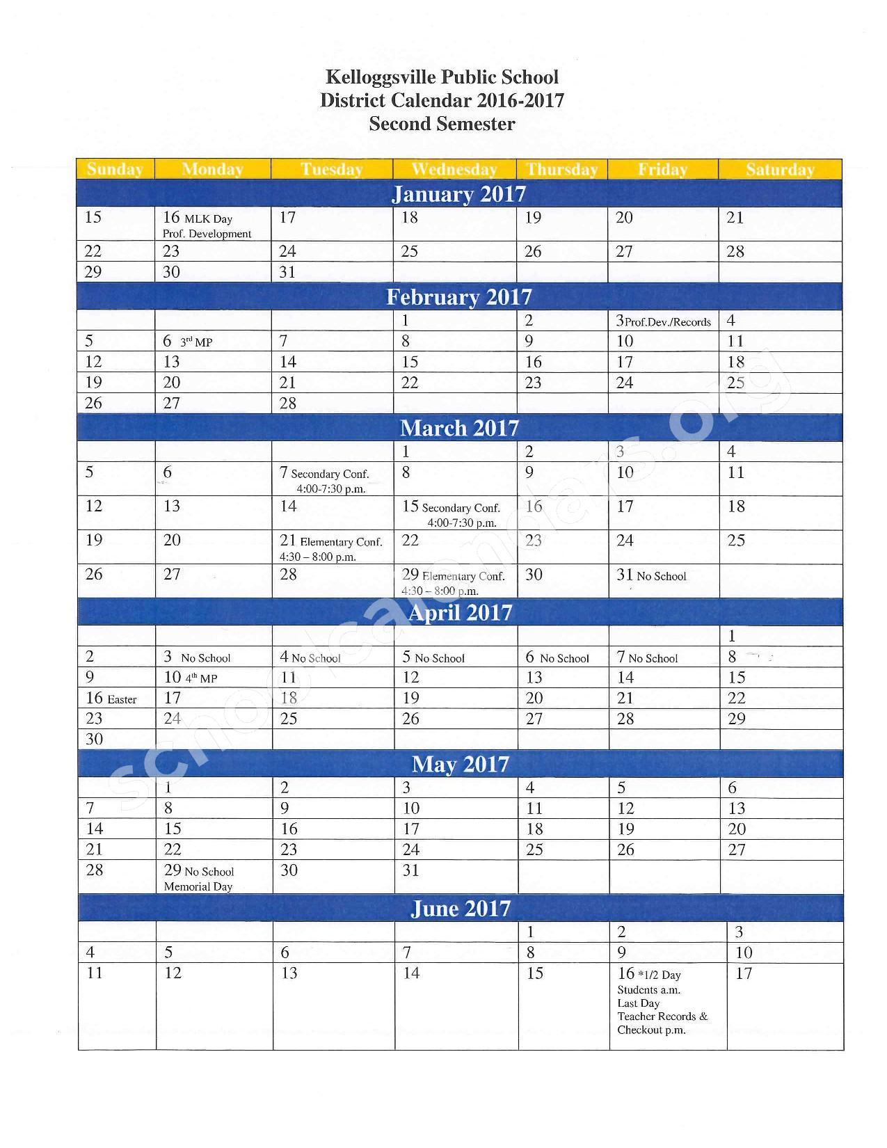 2016 - 2017 School Calendar – Kelloggsville Public Schools – page 2