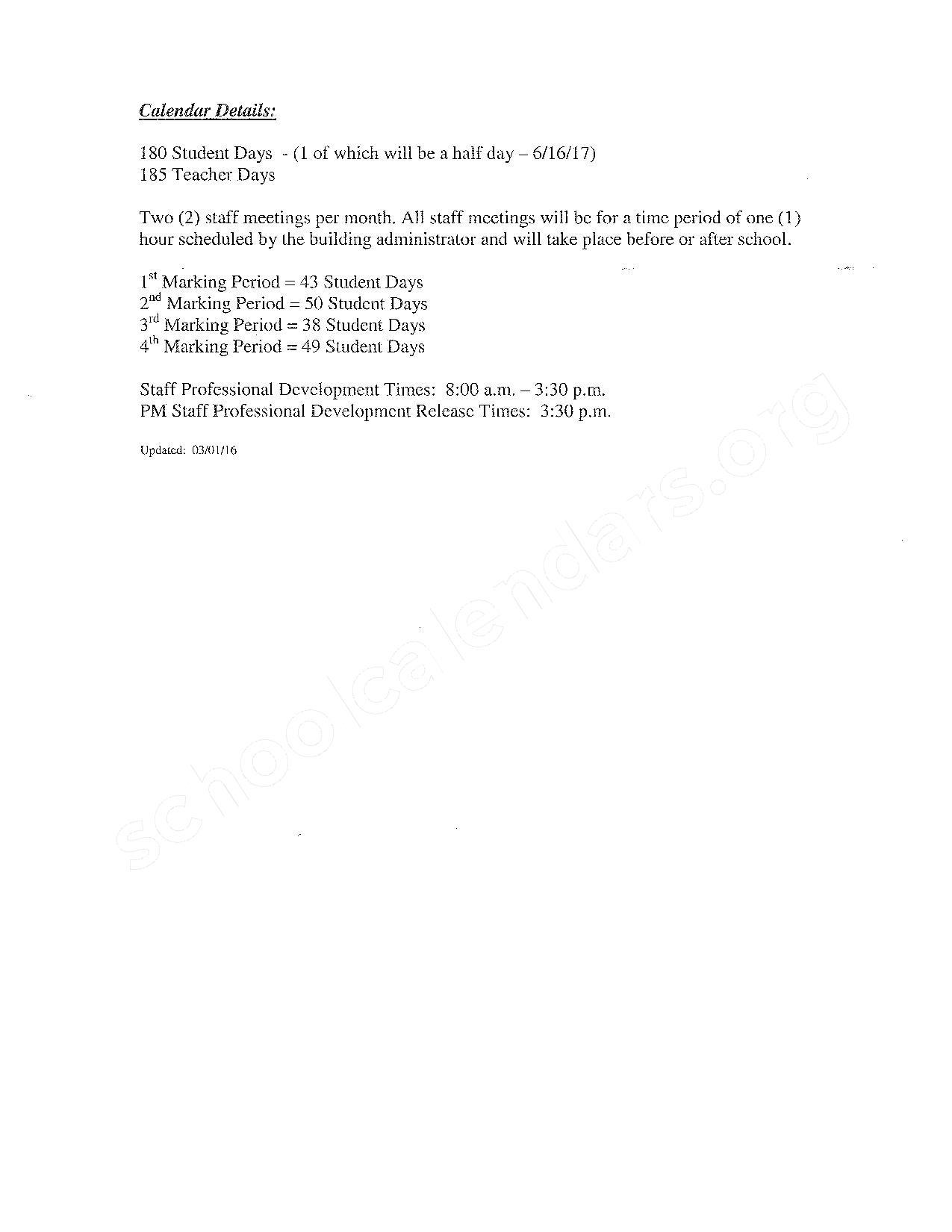 2016 - 2017 School Calendar – Kelloggsville Public Schools – page 3