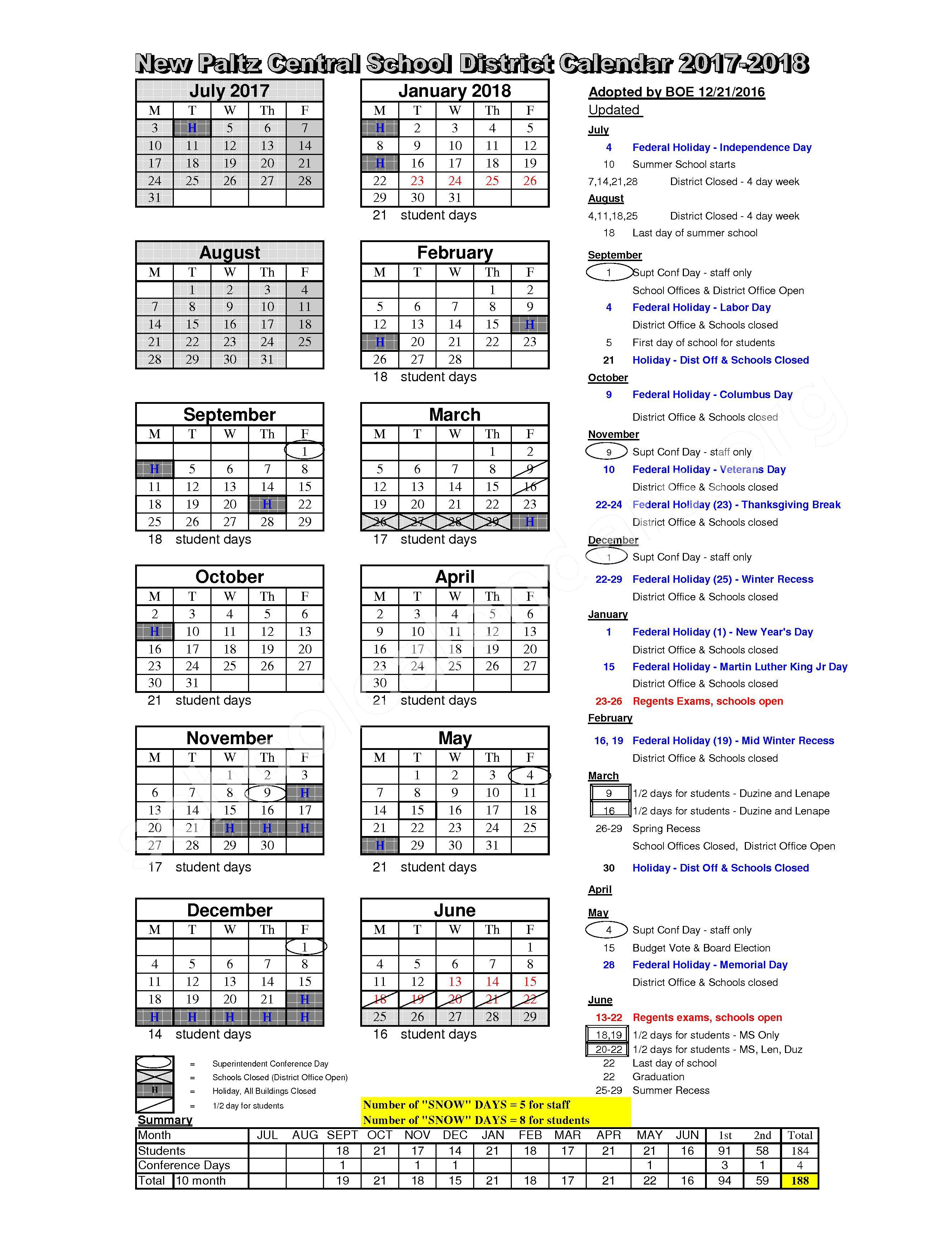 2017 - 2018 District Calendar – New Paltz Central School District – page 1