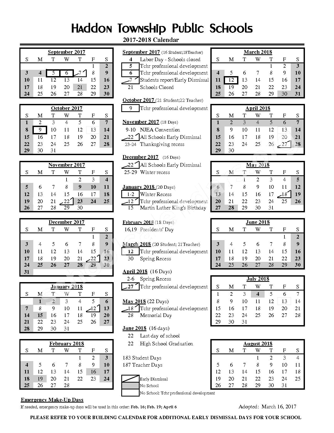 2017 - 2018 District Calendar – Haddon Township School District – page 1