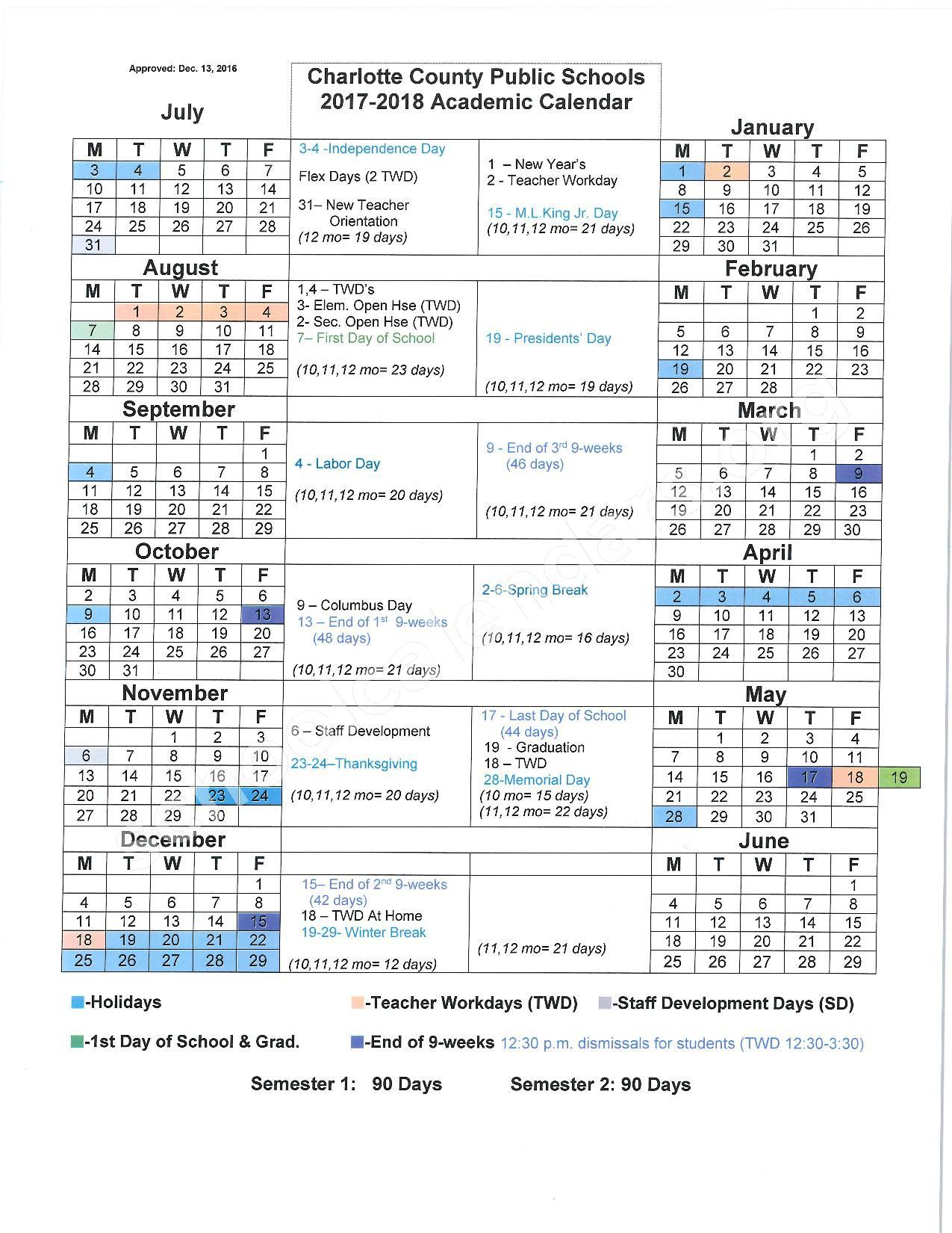 2017 - 2018 District Calendar – Charlotte County Public Schools – page 1