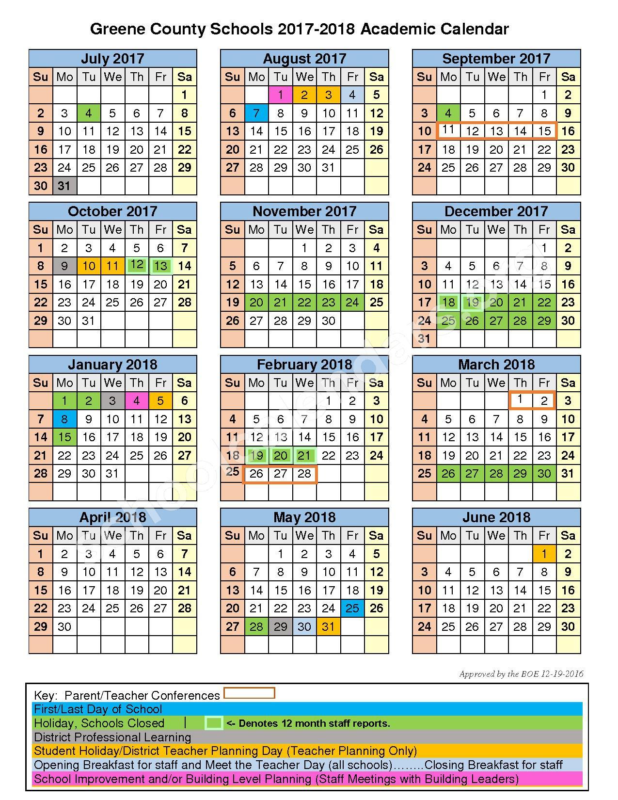2017 - 2018 School Calendar – Greene County School District – page 1