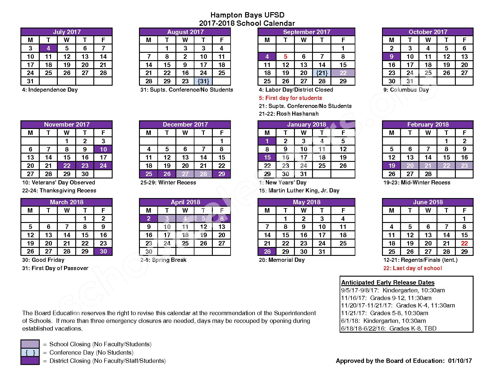 2017 - 2018 School Calendar – Hampton Bays Union Free School District – page 1