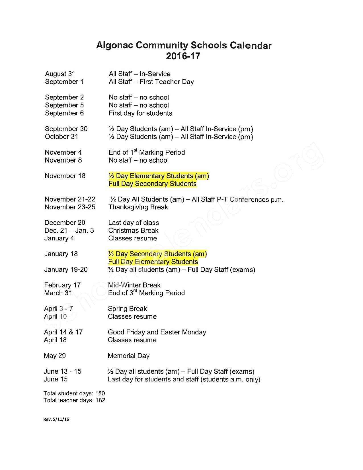 2016 - 2017 School Calendar – Algonac Community School District – page 1