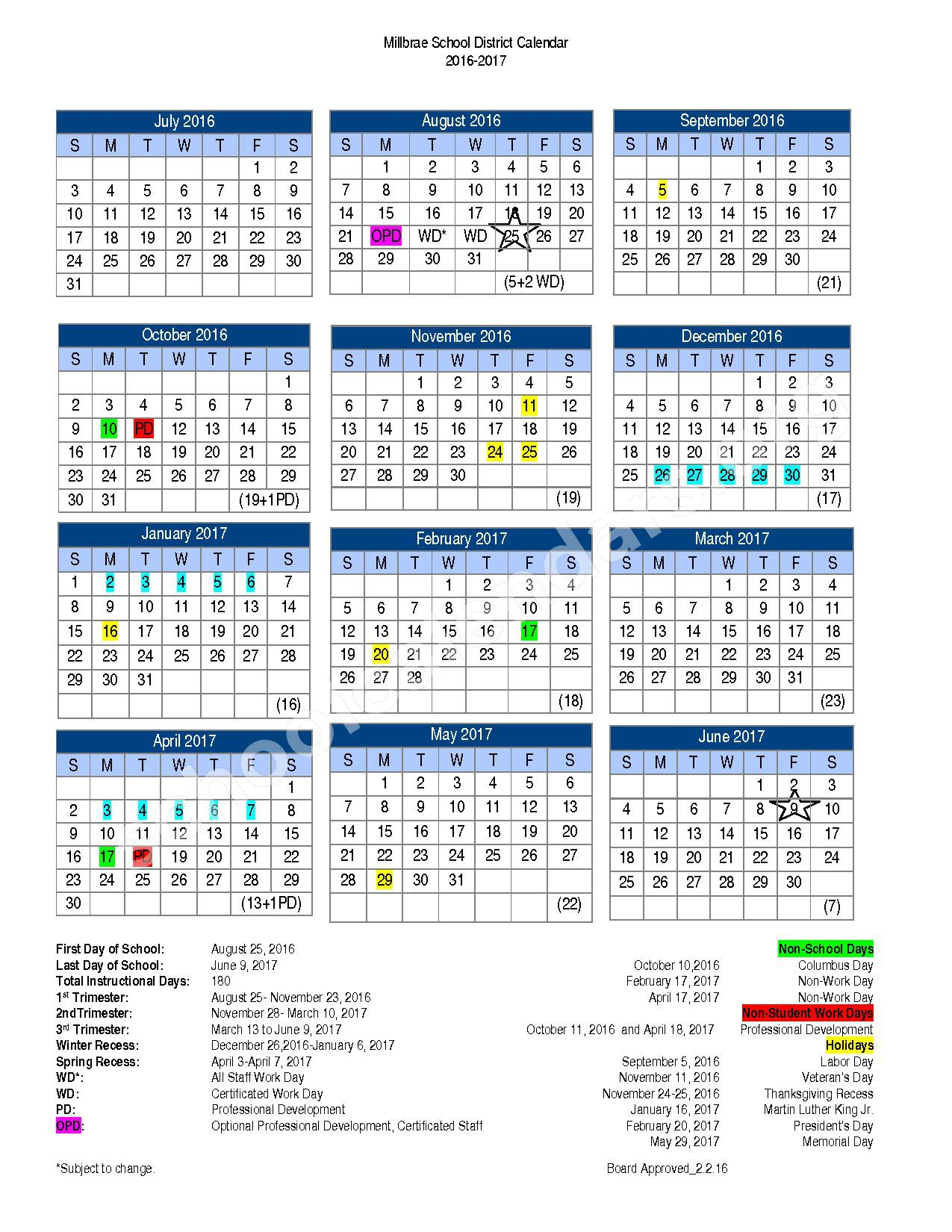 Millbrae School District Calendars – Millbrae, CA