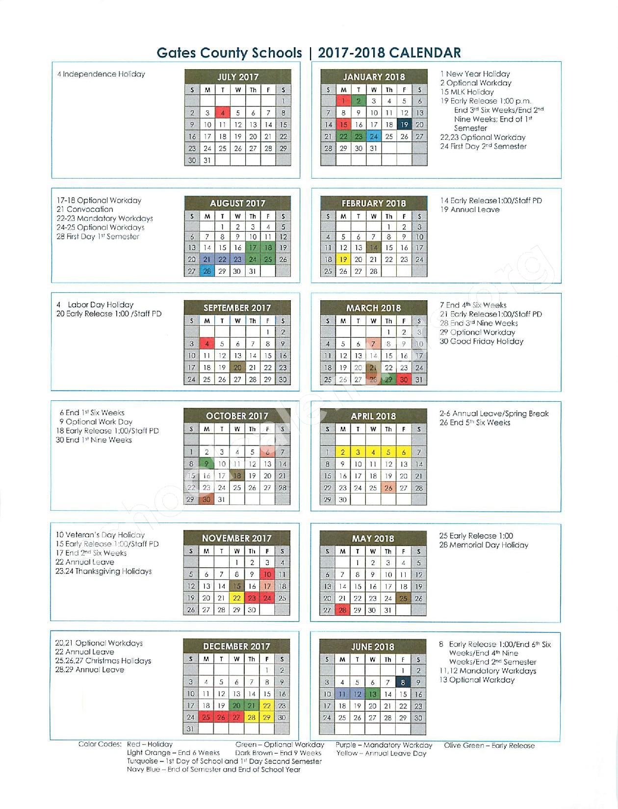 2017 - 2018 School Calendar – Gates County Public Schools – page 1