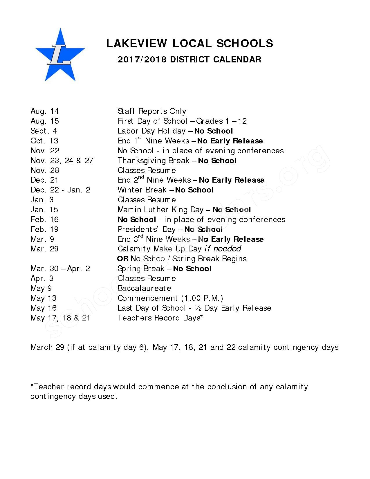 2017 - 2018 School Calendar – Lakeview Local Schools – page 1