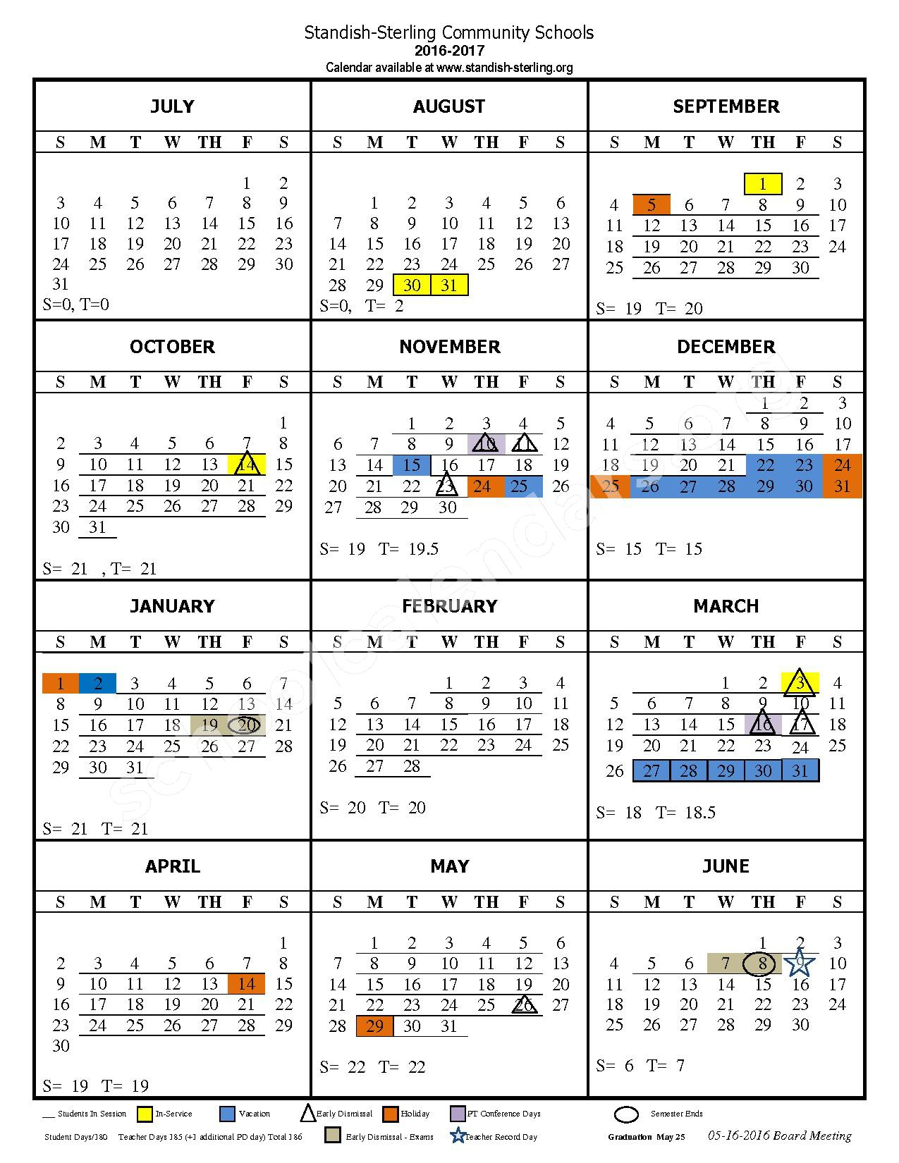 2016 - 2017 School Calendar – Standish-Sterling Community School District – page 1