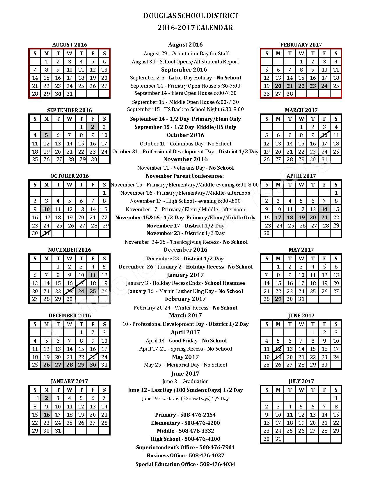 2016 - 2017 Douglas School District Calendar – Douglas Public School District – page 1