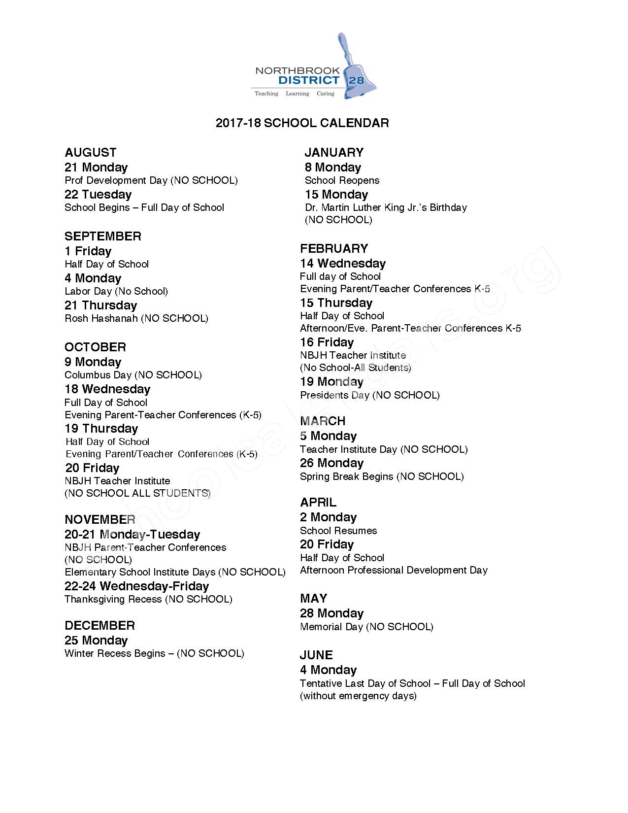 2017 - 2018 District Calendar – Northbrook School District 28 – page 1