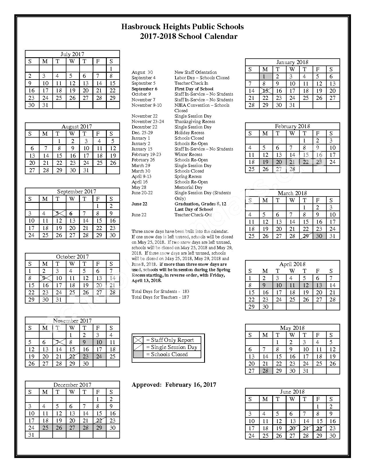 2017 - 2018 District Calendar – Hasbrouck Heights School District – page 1