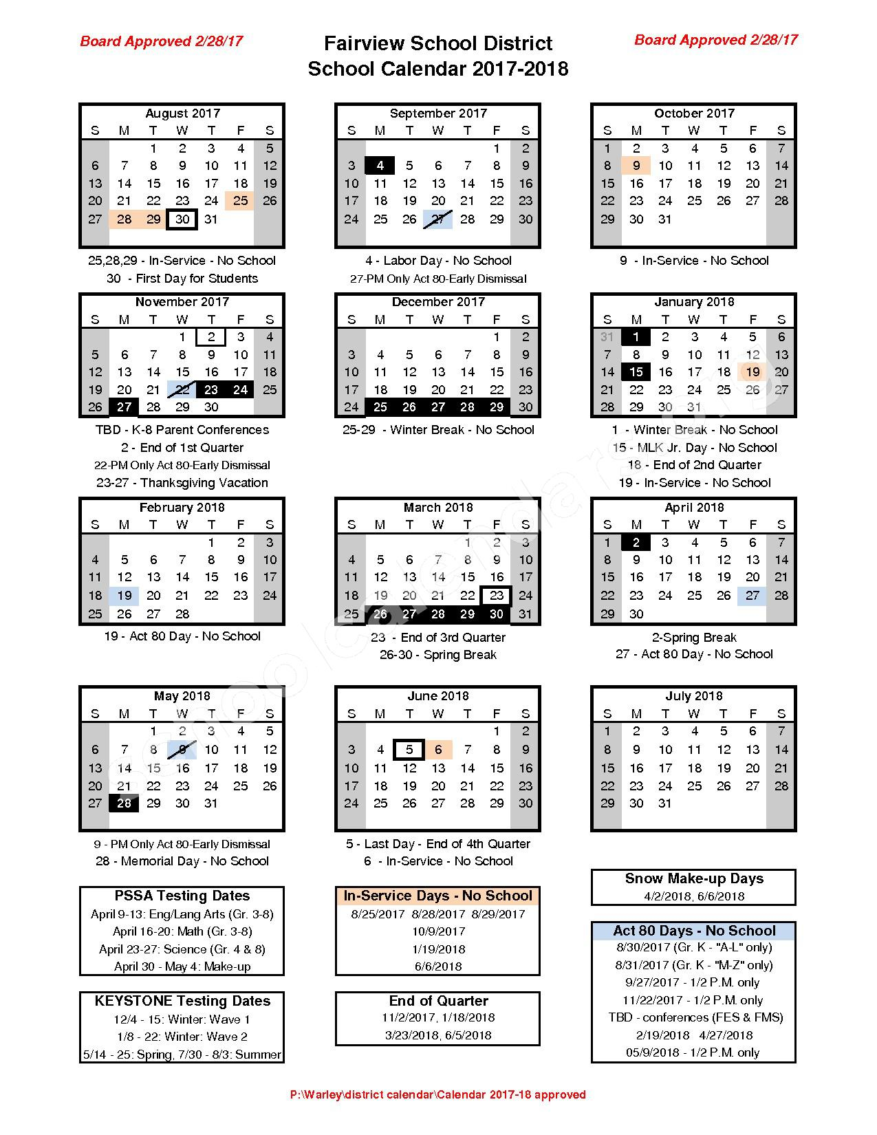 2017 - 2018 School Calendar – Fairview School District – page 1