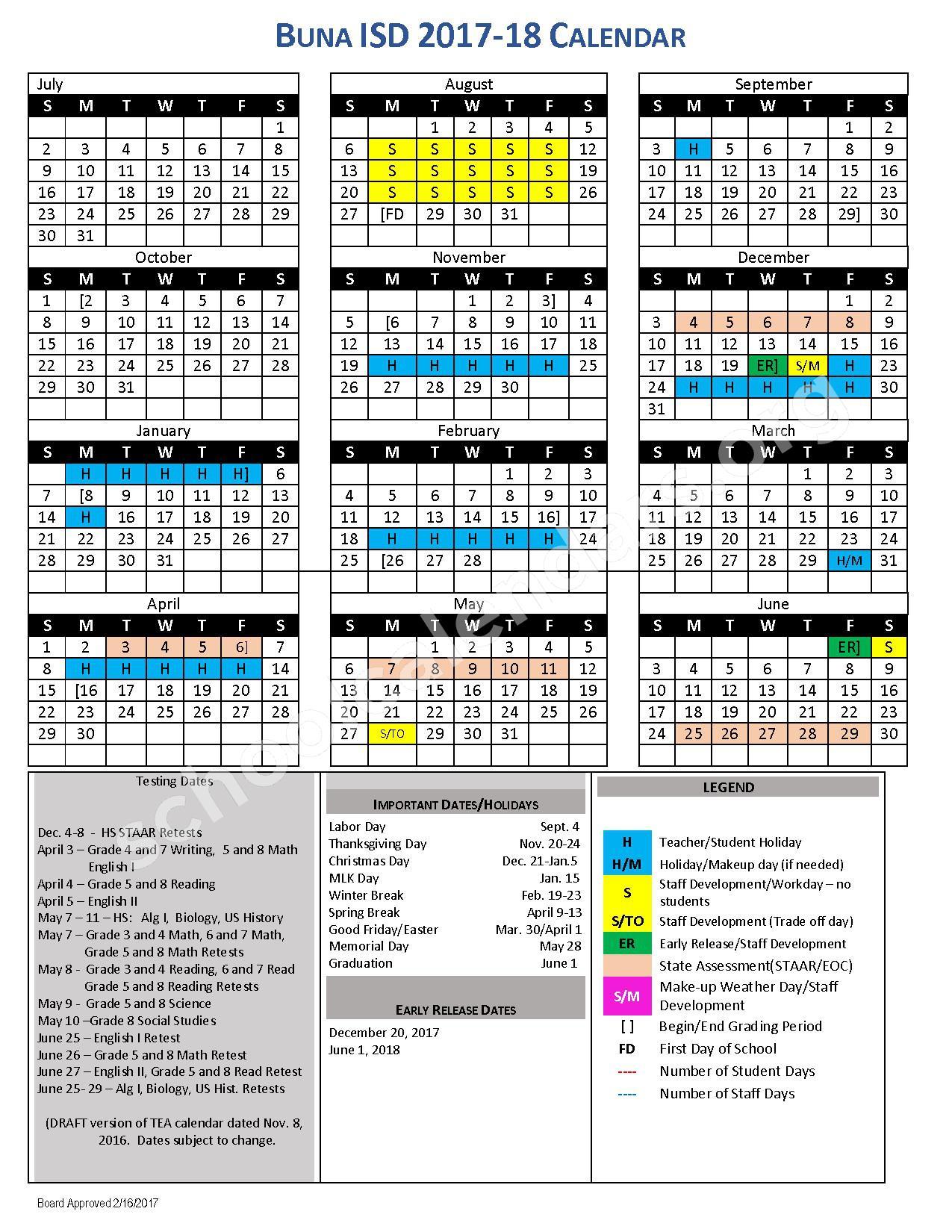 2017 - 2018 District Calendar – Buna Independent School District – page 1