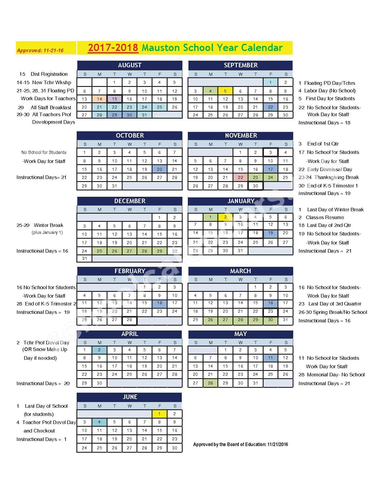 2017 - 2018 School Calendar – Mauston School District – page 1