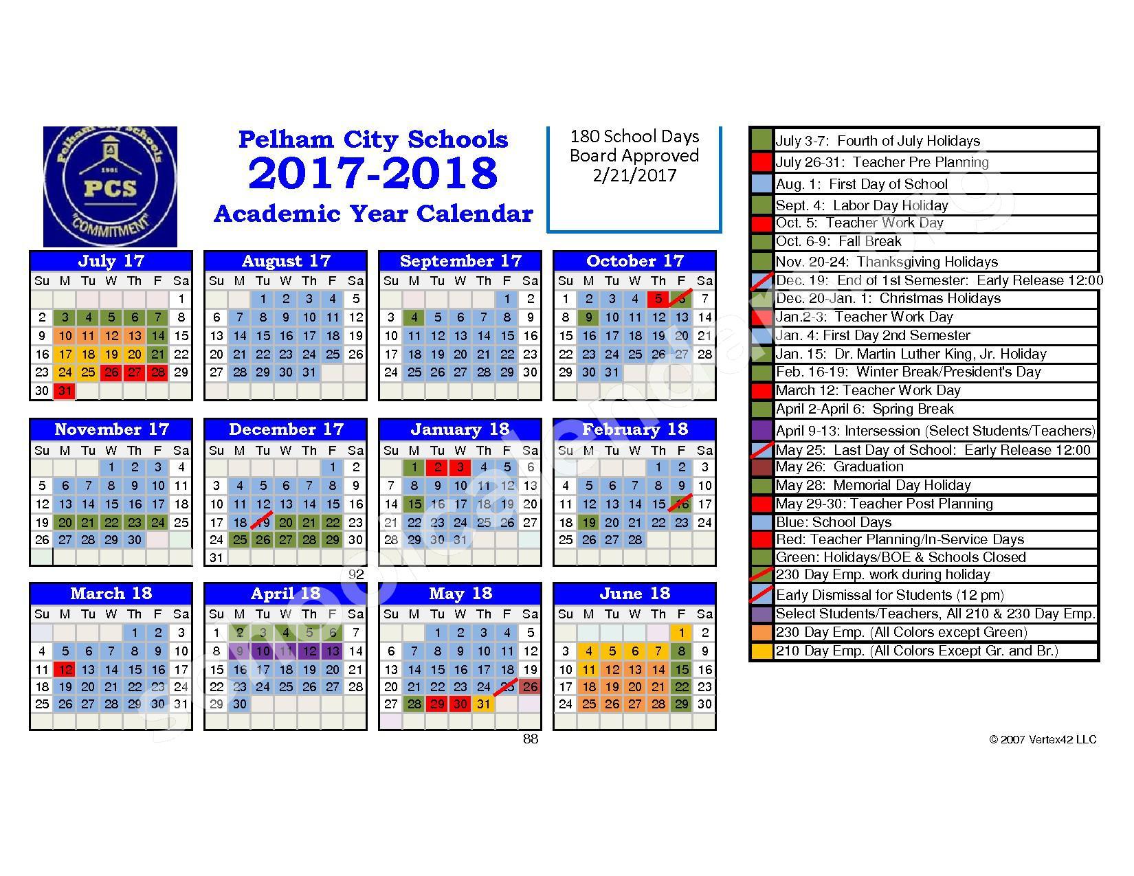 School District Calendar 2017 2018 Bing Images