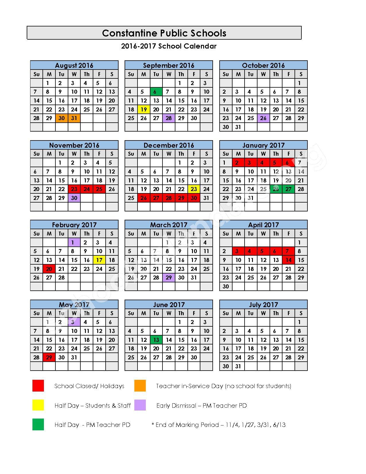 2016 - 2017 School Calendar – Constantine Public School District – page 1