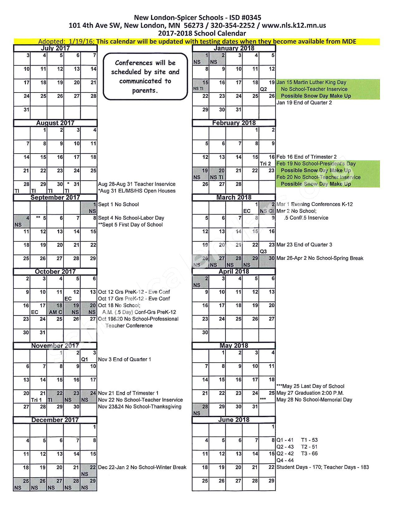 2017 - 2018 District Calendar – New London-Spicer School District – page 1