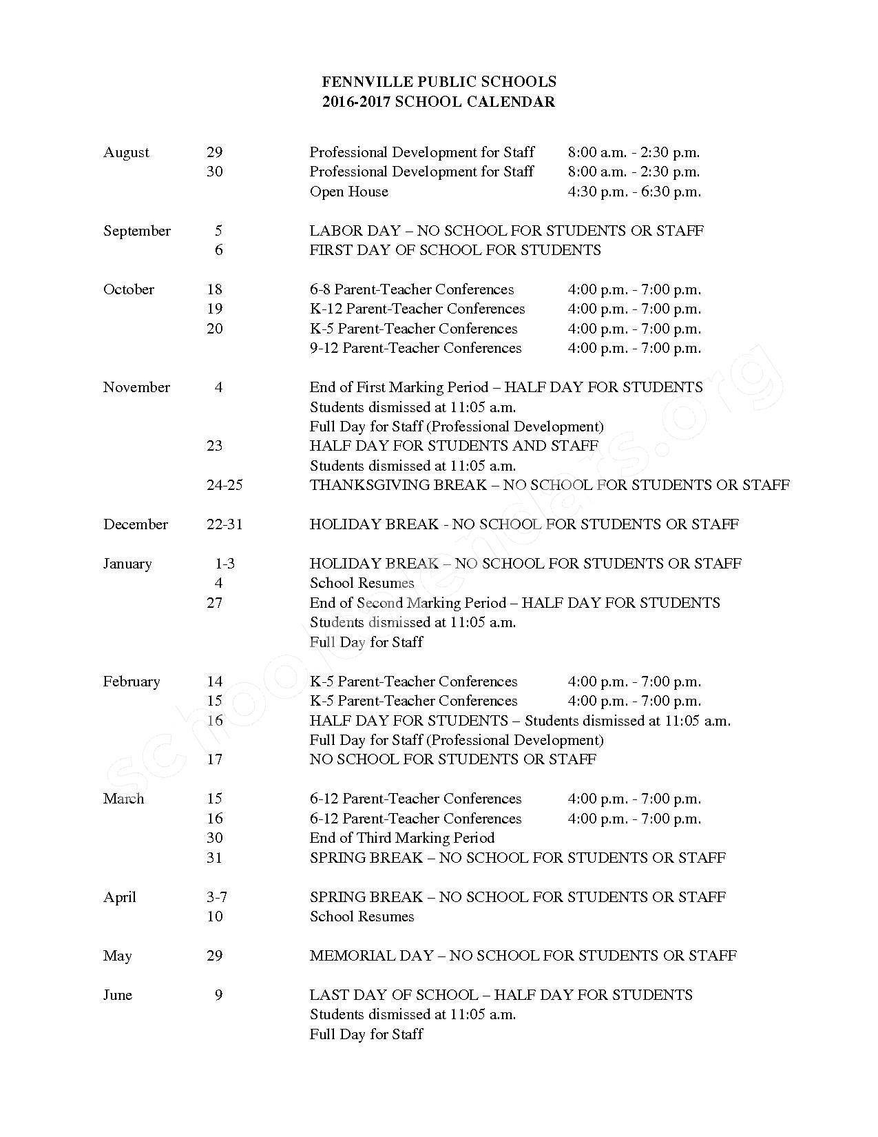2016 - 2017 School Calendar – Fennville Public Schools – page 1