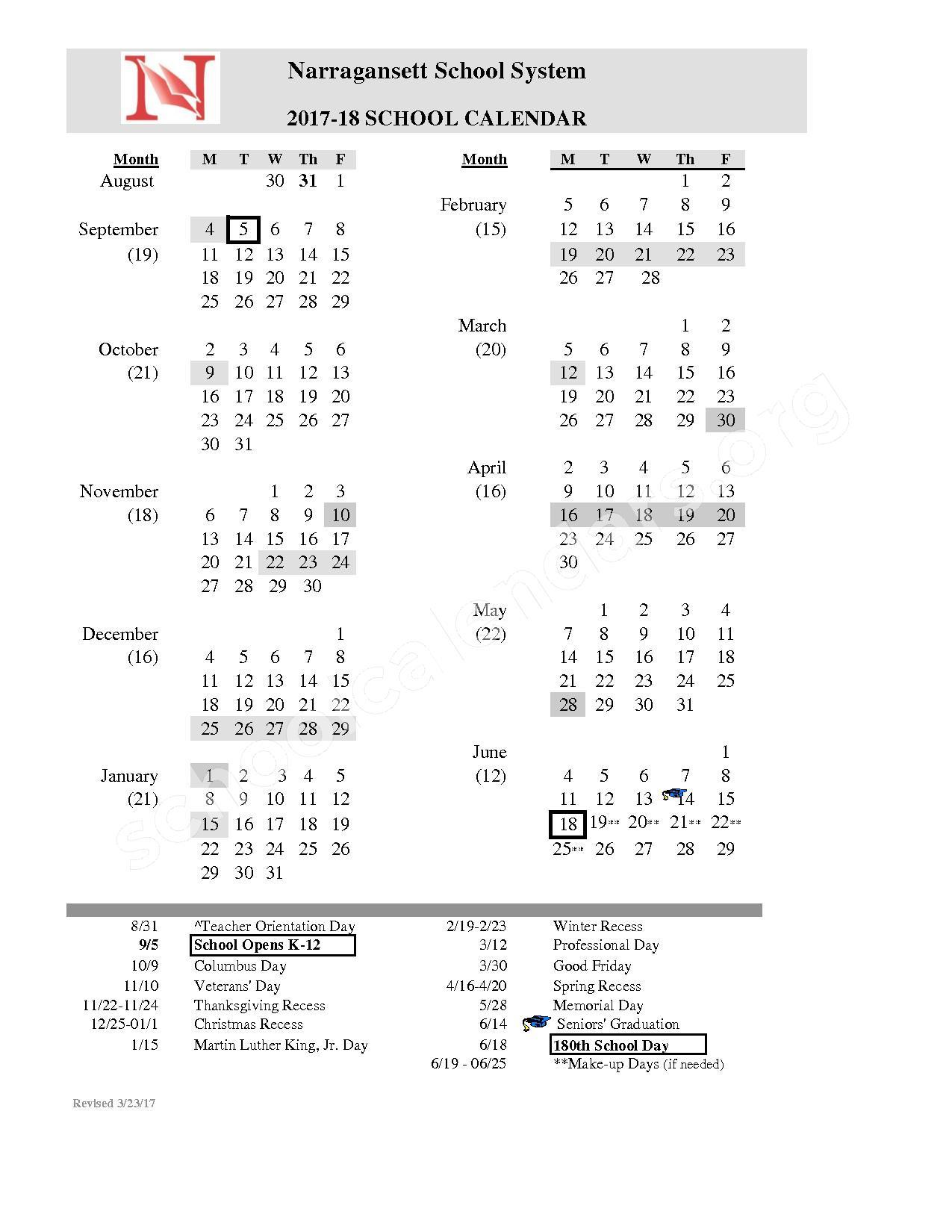 2017 - 2018 School Calendar – Narragansett School System – page 1