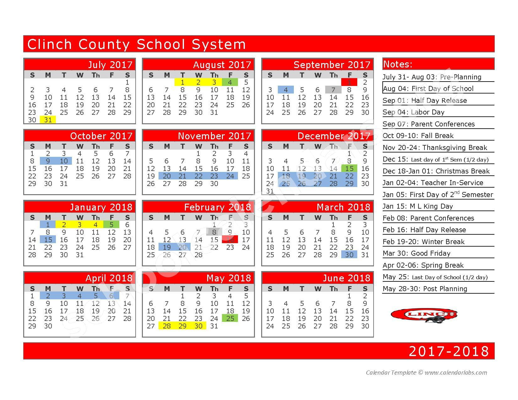 2017 - 2018 School Calendar – Clinch County School District – page 1